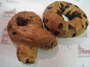 ~ Cranberry Bagel and Chocolate Bagel from Panera Bread